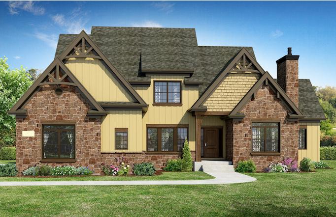 Alternate exterior for a custom home built using the Danielle floor plan
