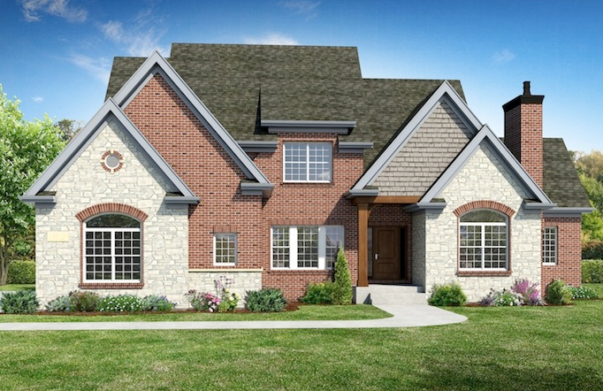 Front Exterior view of a custom home built using the Danielle floor plan