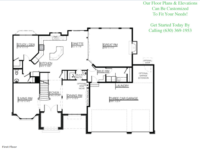 The Leanne floor plan, floor 1