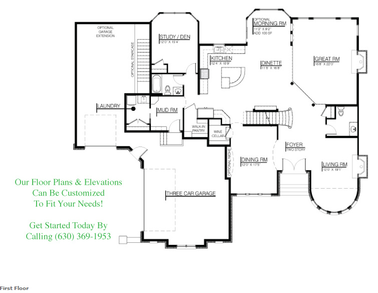The Wyndermere custom floorplan, first floor