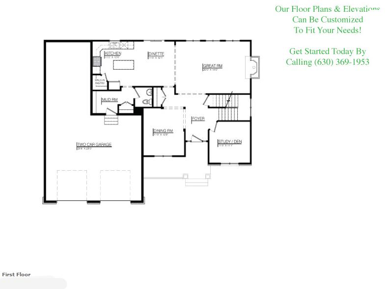 The Zoey floor plan, floor 1