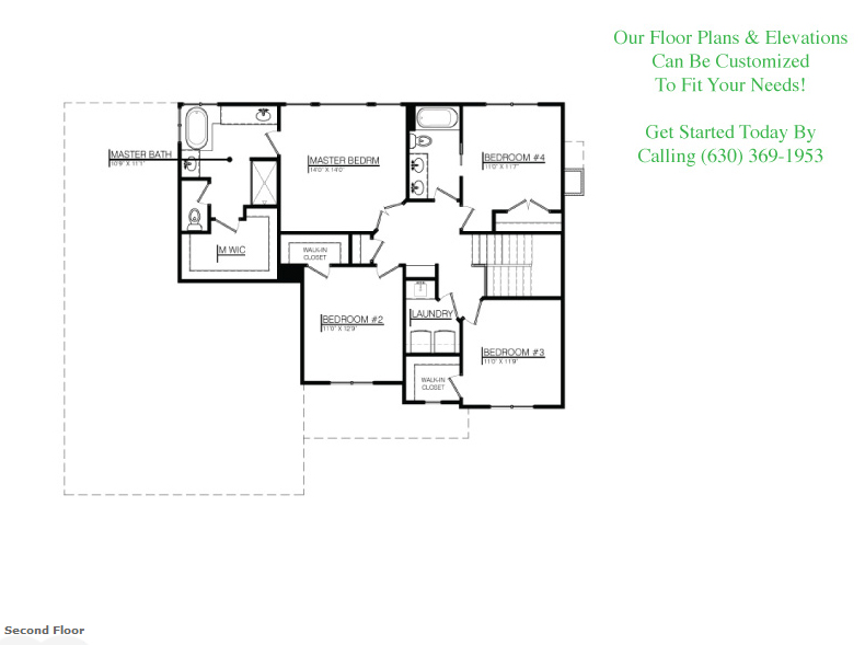 The Zoey floor plan, floor 2