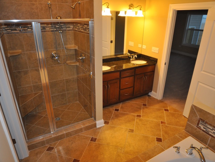 Master bathroom in the Karson custom floorplan, Stewart Ridge, Plainfield, IL
