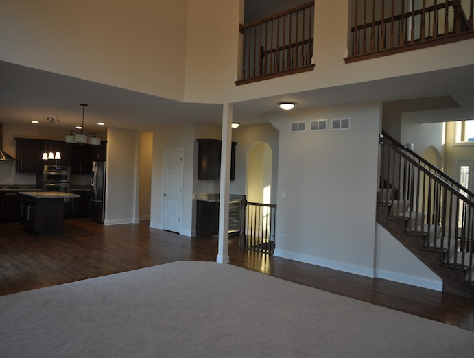 Great room and kitchen of the Karson floor plan, Stewart Ridge, Plainfield, IL