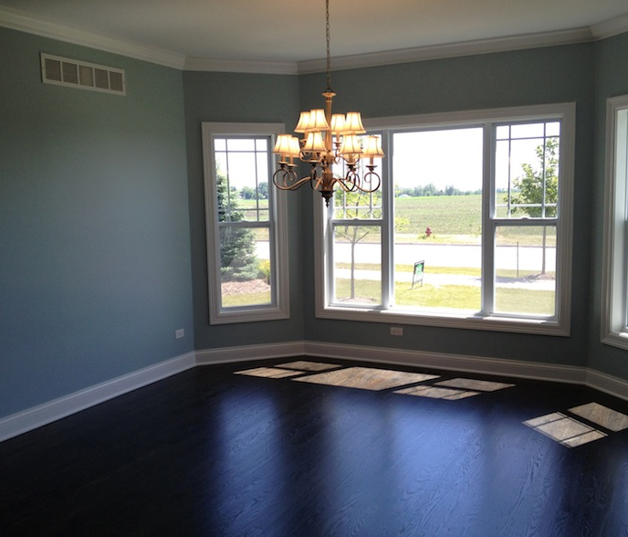 The living room of the Bella floor plan at Stewart Ridge, Plainfield, IL
