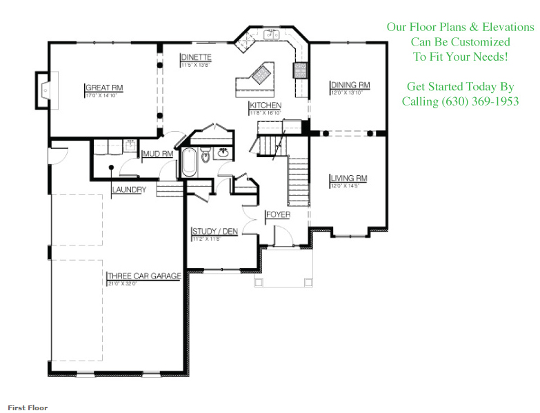 The Brayden floor plan, first floor