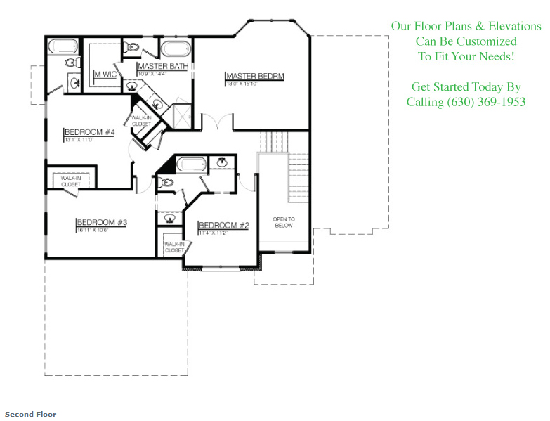The Brayden floor plan, second floor