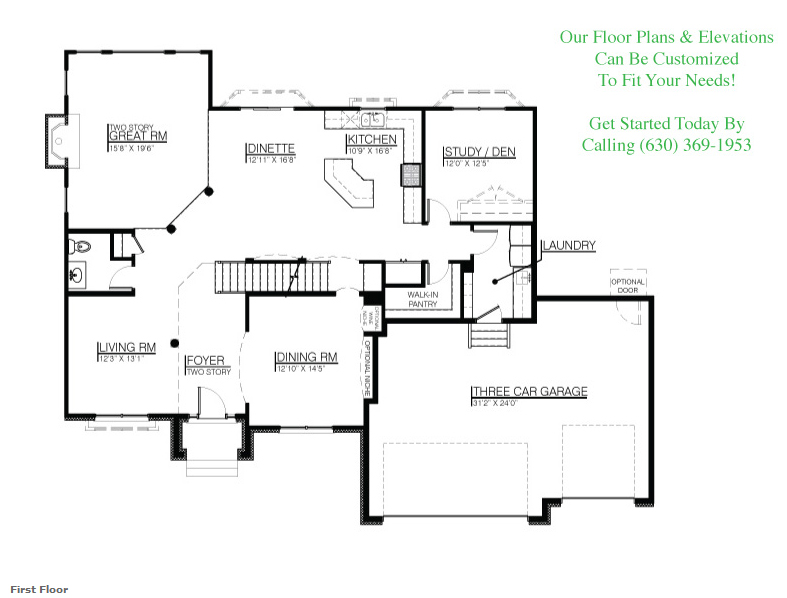 The Jonathan I floorplan, floor 1