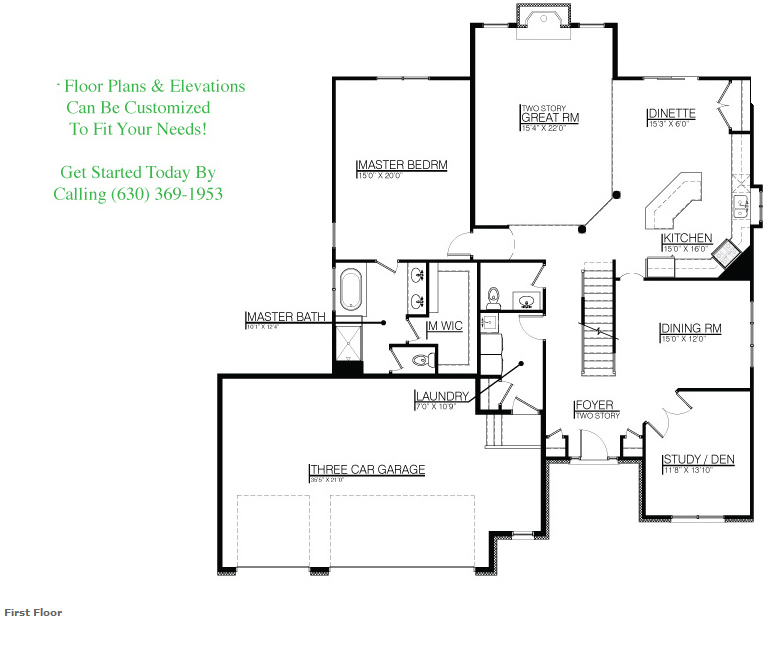 The Kailey floor plan, Floor 1