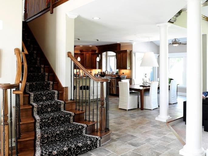 Stairway and dinette in the Kayden custom floorplan, Plainfield, IL