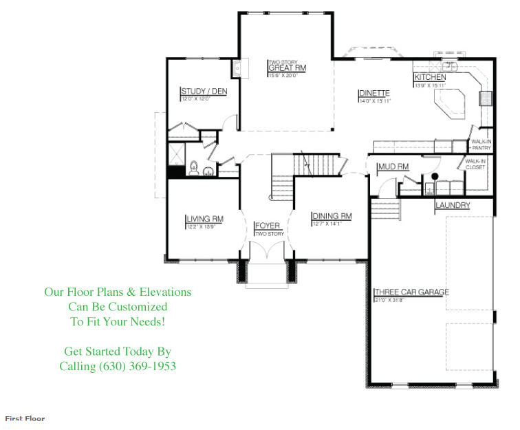 The Kelsie customizable floor plan, Floor 1