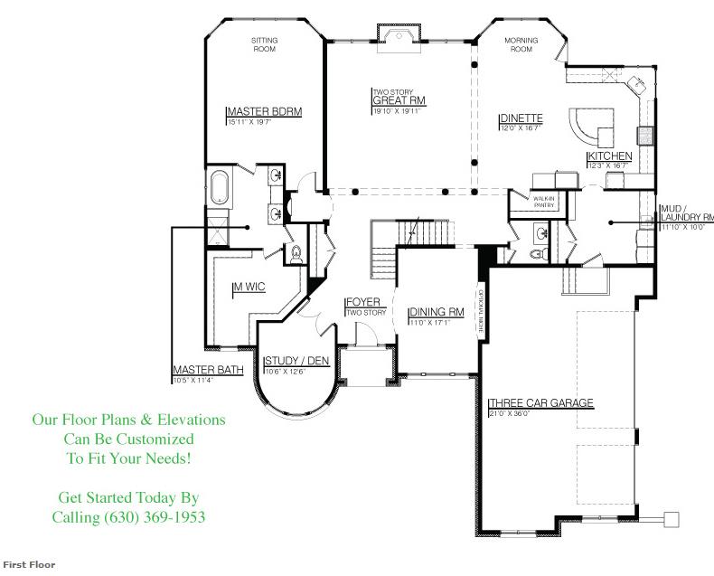 The Kristina floor plan, Floor 1