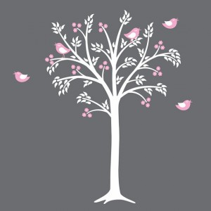 Pink Vinyl Wall Decal of Trees and Birds